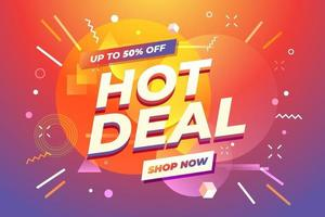 Hot Deal banner, special offer, up to 50 percent off. vector