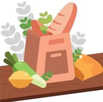 Flat Style Grocery Catering Bag Ilustration vector