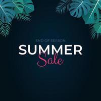 Tropical leaves summer sale background Vector illustration EPS