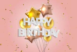 Happy Birthday congratulations banner design with Confetti, vector