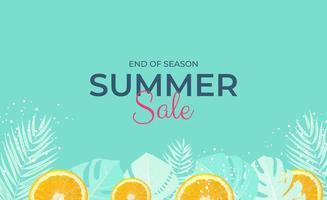 Tropical leaves summer sale background Vector illustration