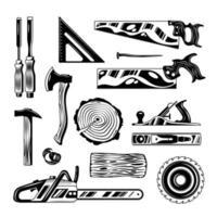 Woodwork Engraving Hand Drawn Set Vector Illustration