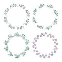 Set of Botanical gold frames decorated with flowers vector