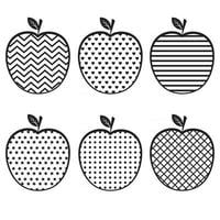 Apple with an ornament, black stencil, vector illustration vintage