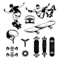 Skateboarding Engraving Set Vector Illustration