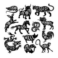 Chinese Black Zodiac Figures Of Sacred Animals Vector Illustration