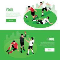 Football Foul Horizontal Banners Vector Illustration