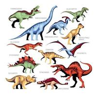 Dinosaur Color Cartoon Set Vector Illustration