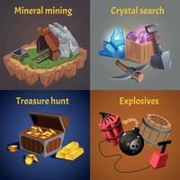 Cartoon Mining Game Design Icon Set Vector Illustration