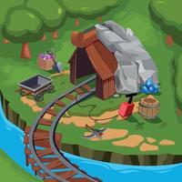 Mining Game Design Composition Vector Illustration
