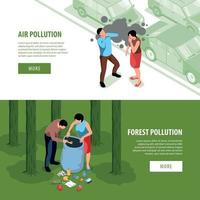 Air Pollution Horizontal Banners Vector Illustration