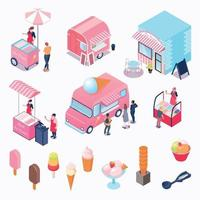 Isometric Ice Cream Set Vector Illustration