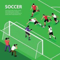 Isometric Soccer Attack Background Vector Illustration