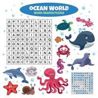 Ilustración de vector de rompecabezas divertido de animales marinos