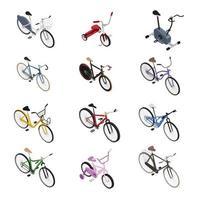 Bicycles Isometric Set Vector Illustration