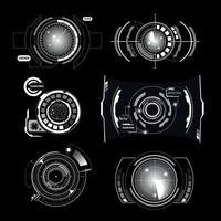 Hud Interface Radar Monochrome Set Vector Illustration