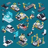 Electric Vehicle Production Isometric Set Vector Illustration