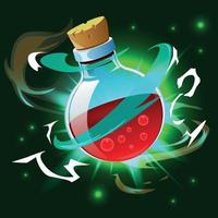 Magic Potion Poison Bottle Composition Vector Illustration
