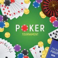 Poker Tournament  Realistic Frame Vector Illustration
