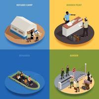 Refugees 2x2 Design Concept Vector Illustration