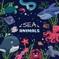 Sea Animals Funny Frame Vector Illustration