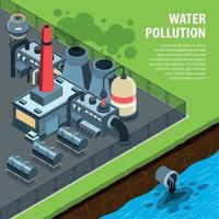 Factory Water Pollution Background Vector Illustration