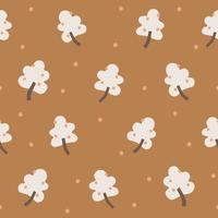 Vector simple berry tree with snow illustration seamless pattern