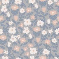 Vector colorful Scandinavian flower illustration seamless pattern