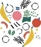 Vector abstract banana apple paint brush doodle illustration motif