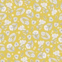 Vector hand drawing flower illustration seamless repeat pattern