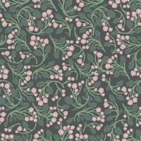 Vector hand-drawn flower, leaf branch illustration seamless pattern