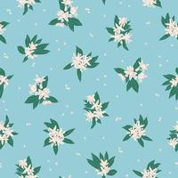 Vector small white flower leaf illustration motif seamless pattern