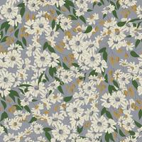 Vector cosmos flower and olives illustration seamless repeat pattern