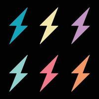 Thunderbolt lightning neon color vector image