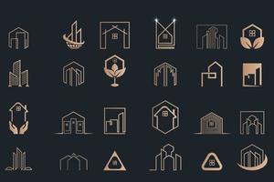 Set Minimalist Real Estate, Building And Construction Liner Art vector