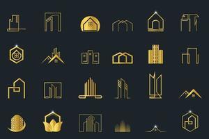 mega set vector de líneas de logotipo de bienes raíces, construcción y construcción