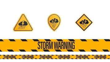Storm warning, tape and weather warnings symbols isolated on white vector