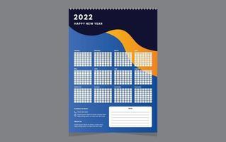 Single wall calendar 2022 template design with vector. vector
