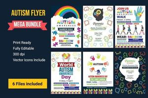 conjunto de carteles creativos o conjunto de banners del día mundial de concientización sobre el autismo. vector