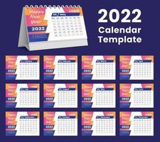 Set Desk Calendar 2022 template design,Set of 12 Months, vector