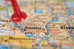Franklin, Tennessee, hoja de ruta con chincheta roja foto