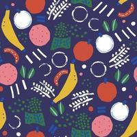 Vector paint brush doodle banana, apple abstract illustration pattern