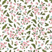 Scandinavian art cute blue berry leaf illustration seamless pattern vector