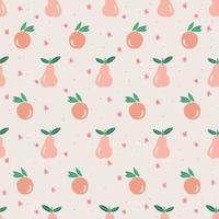 Vector cute orange, pear, small flower illustration seamless pattern