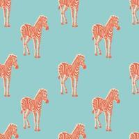 Vector retro neon color Zebra illustration seamless pattern