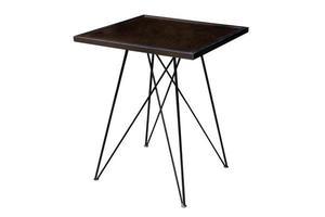 mesa de madera moderna con patas de acero. foto