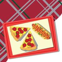 Pizza lying on a tray, checkered tablecloth - Vector