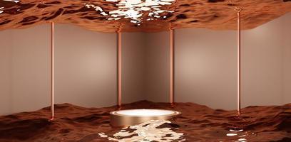 soporte de exhibición de agua con escena de estudio de marco cuadrado para producto foto