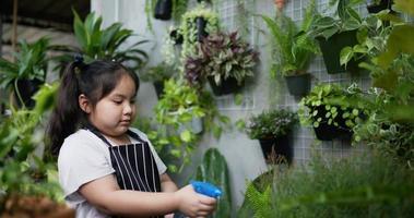 menina borrifando água nas plantas video