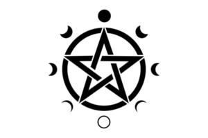 Pentacle circle symbol and Phases of the moon. Wiccan symbol vector